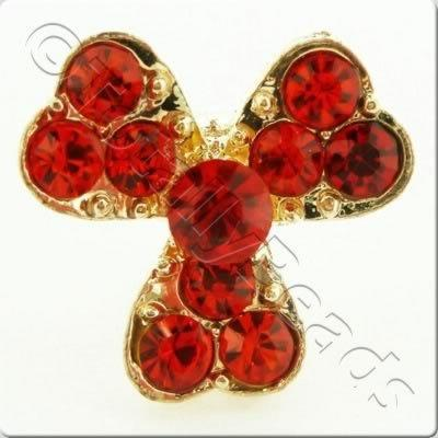 Metal-base Crystal Button - 3 Petal Flower Red