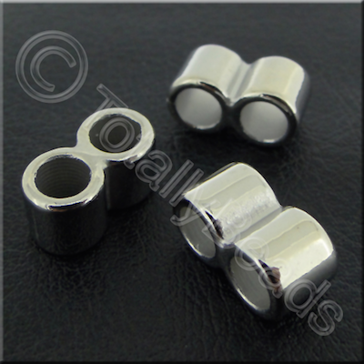 Acrylic Twin Barrel Bead 14mm - Antique Silver 40pcs