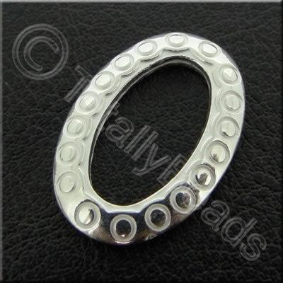 Metalised Acrylic Spacer Ring Oval - 25x17mm - Silver 40pcs