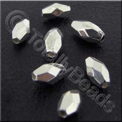 Metalised Acrylic Faceted Rice Bead - 7mm - Silver 200pcs