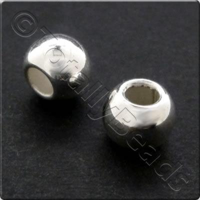 Metalised Acrylic Bead Large Hole Round 8mm - Silver 100pcs