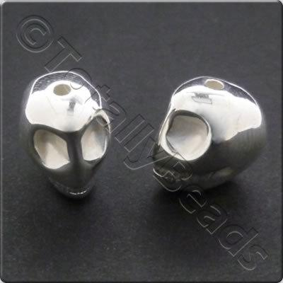 Metalised Acrylic Bead Skull 12mm - Silver 35pcs
