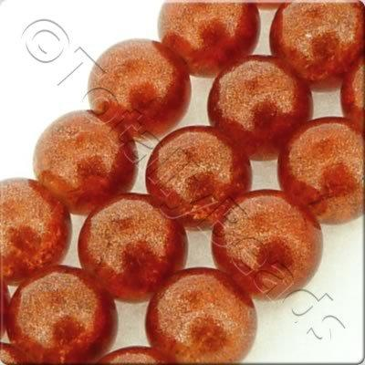 Metallic Crackle Glass Bead - Burnt Orange