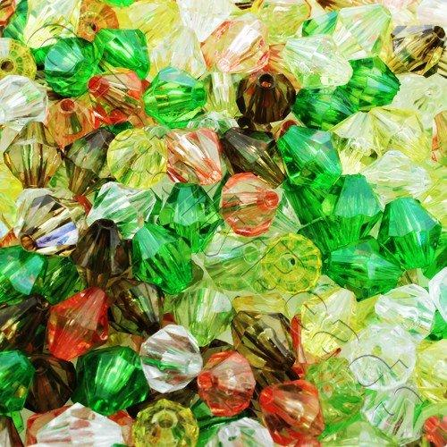 Acrylic Bicone 10mm 100pc - Mixed