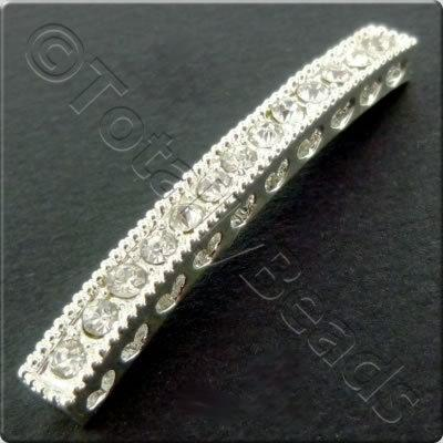 Silver Spacer Bar - Rhinestone Arc 39mm - 2pcs