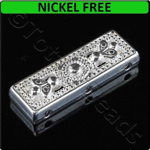 Silver Metal Spacer Bar 3 Holes Rectangle 26x9mm 8pcs