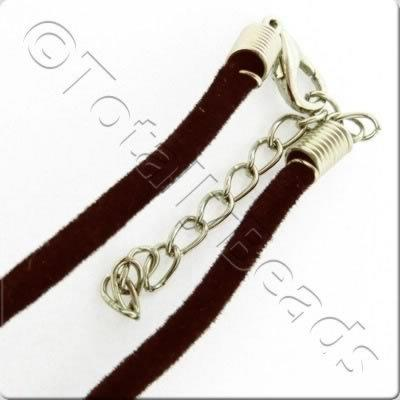 Velour Necklace Cord - Dark Brown