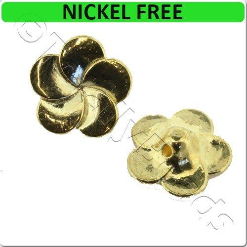 Gold Metal Button 14mm Flower 8pcs