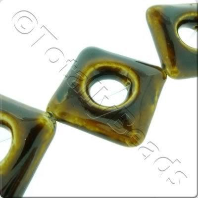 Ceramic Beads - Hollow Diamond 35mm - Brown