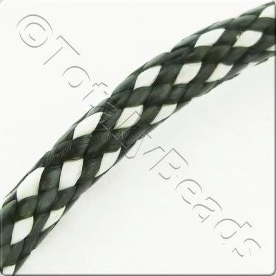 Plaited Wax Cord 4mm - Black and White