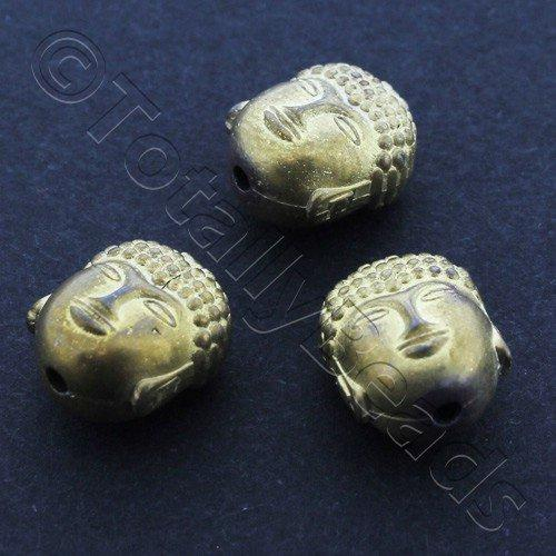 Hematite Budda Head 10mm 2pc Matt Gold Plated