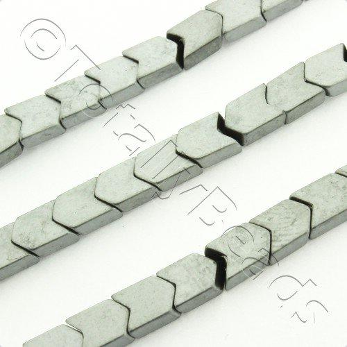 Hematite Chevron 4mm - Matt Silver Plated