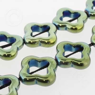 Hematite Clover 16mm - Green Plated