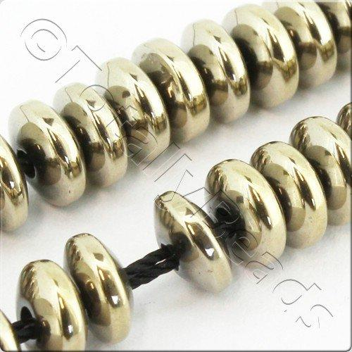 Hematite Rondelle 6mm - Champagne Plated