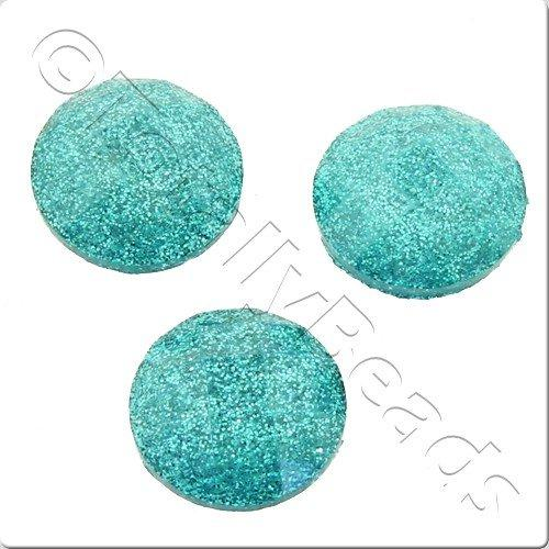 Resin Cabochon 10mm - Facet Sparkle Turquoise 10pcs