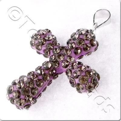 Shamballa Cross Pendant - 32x23mm - Amethyst