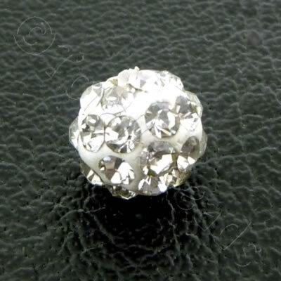 Shamballa Bead 6mm Round - Crystal