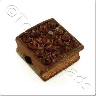 Shamballa Flat Square Bead - 10mm - Brown