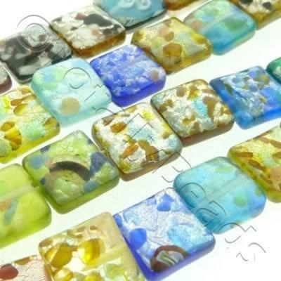 Silver Foil Millefiori - Flat Square 12mm - Mixed
