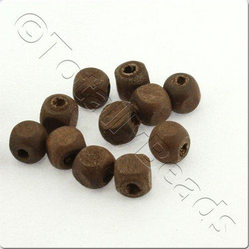 Wooden Bead - Dice Cube 6mm Dark 200pcs