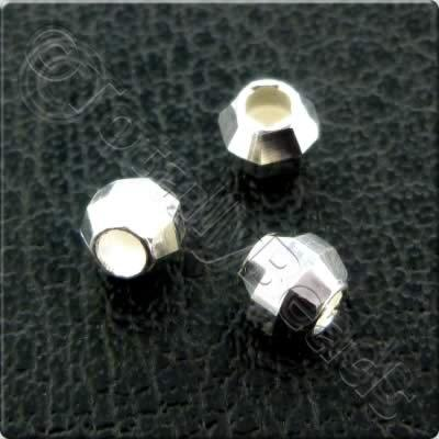 Sterling Silver Facet Round Spacer - 4mm  - 8pcs