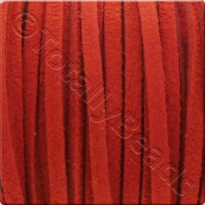 Suede Cord Red - 3mm - 5m Spool