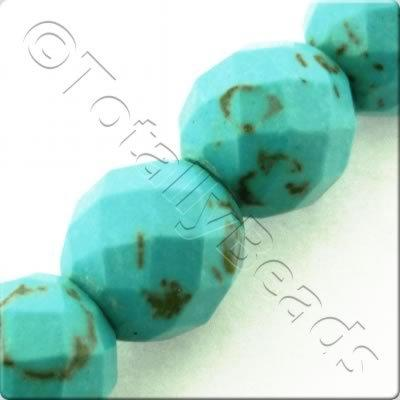 Synthetic Turquoise Facet Round 8mm