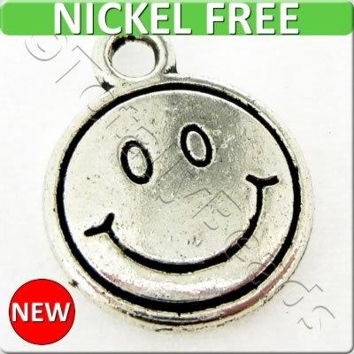 Antique Silver Metal Charm - Smiley Face 12mm 12pcs - A13757