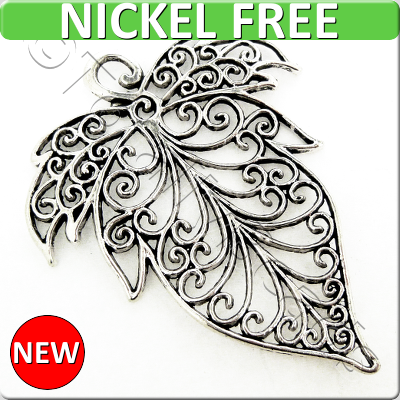 Antique Silver Metal Pendant - Filigree Leaf 72x56mm - A11755
