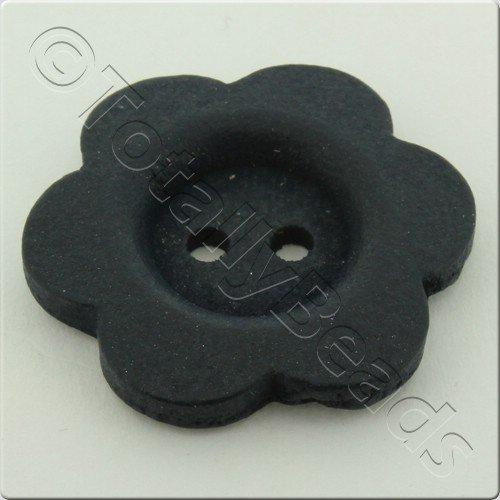 Wooden Flower Button 50mm - Navy Blue
