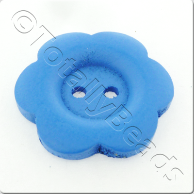 Wooden Flower Button 27mm - Blue