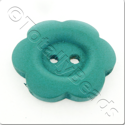 Wooden Flower Button 27mm - Turquoise