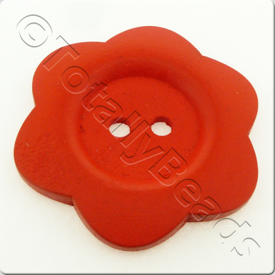 Wooden Flower Button 50mm - Red