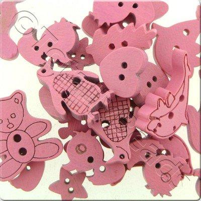 Wooden Button Mixed Shapes - Pink