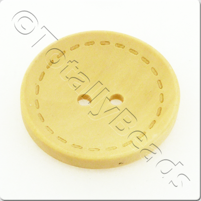 Wooden Button Stitch Effect 30mm - Natural