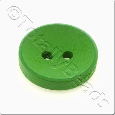 Concave Wooded Button 15mm - Green