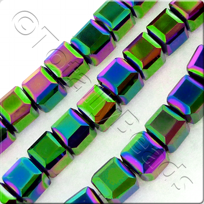 Crystal Faceted Cube 6mm  Rainbow Plate