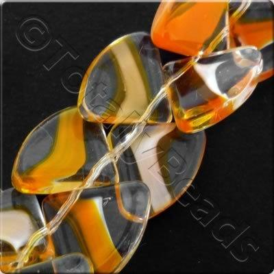Glass Quadrant - 15mm - Orange - 28pcs
