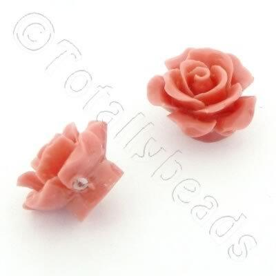 Acrylic Rose 15mm 1 Row - Peach 4pcs