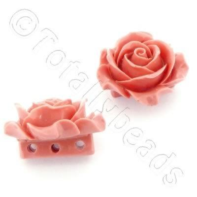 Acrylic Rose 35mm 3 Rows - Peach