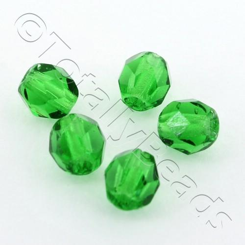 Czech Fire Polished 4mm Faceted - Green - 100pcs