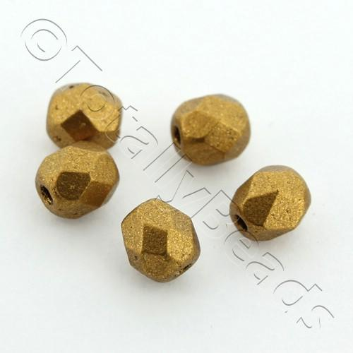 Czech Fire Polished 4mm Faceted - Matte Metallic Goldenrod - 100pcs
