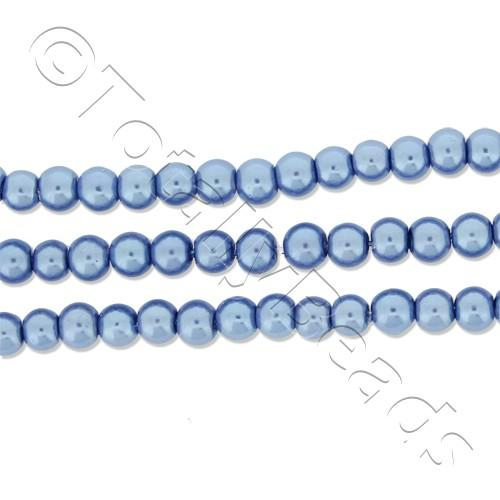 Glass Pearl Round Beads 3mm - Denim Blue