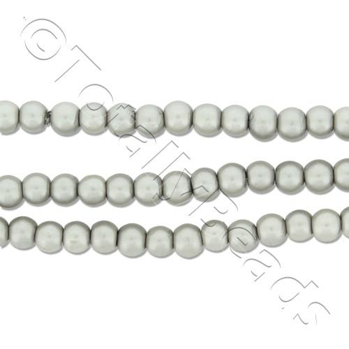 Glass Pearl Round Beads 3mm - Silver Grey
