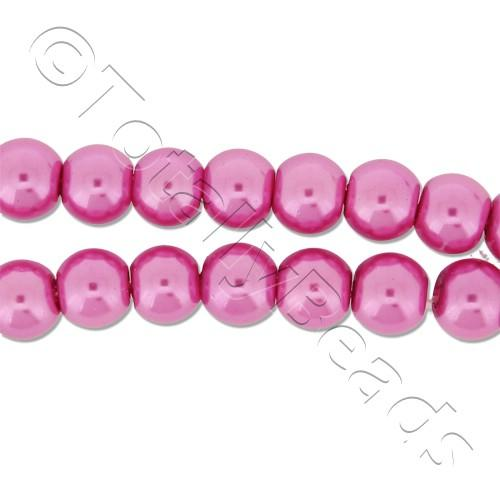 Glass Pearl Round Beads 6mm - Pink