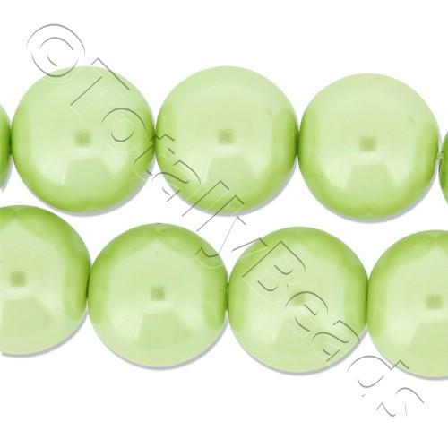 Glass Pearl Round Beads 12mm - Lime Green