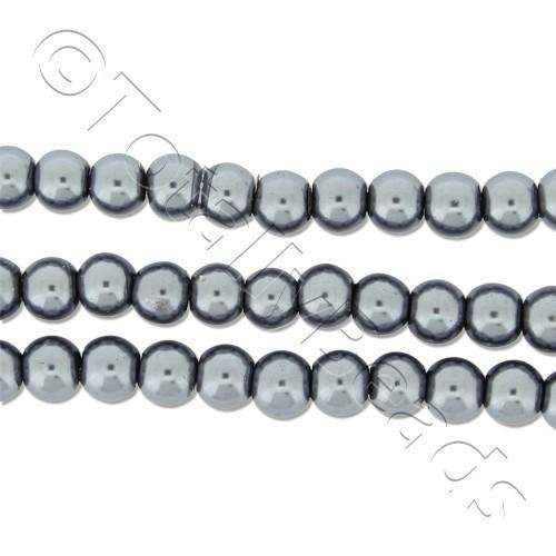 Glass Pearl Round Beads 4mm - Grey