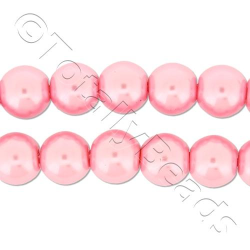 Glass Pearl Round Beads 8mm - Baby Pink