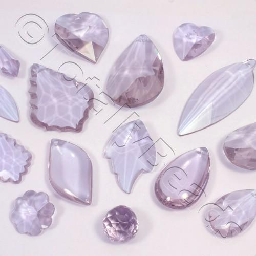 Glass Pendant Pack - Mix of 12 Pendants - Lilac