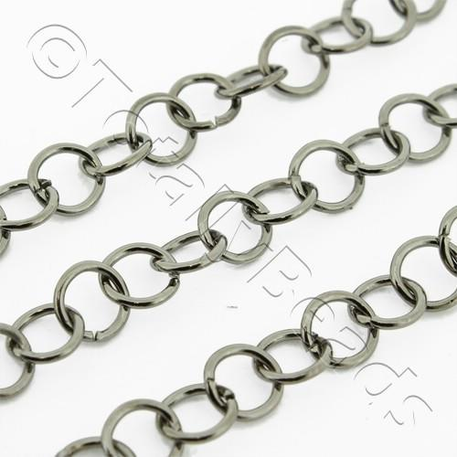 Chain Black Plated - Round Link 4mm Thin